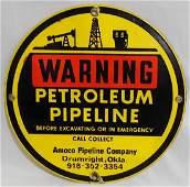 Warning Petroleum Pipeline Porcelain Sign