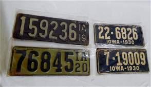 Lot of 4 Pairs Iowa License Plates