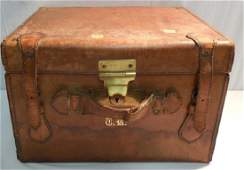Leather Hat Trunk with Hat - Believed to have been