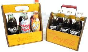2 Wooden Coca-Cola 6 Pack Carriers