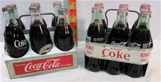 2 CocaCola Metal Carrying racks with bottles