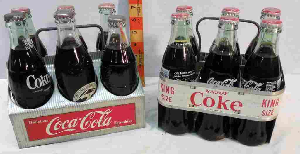 2 Coca-Cola Metal Carrying racks with bottles