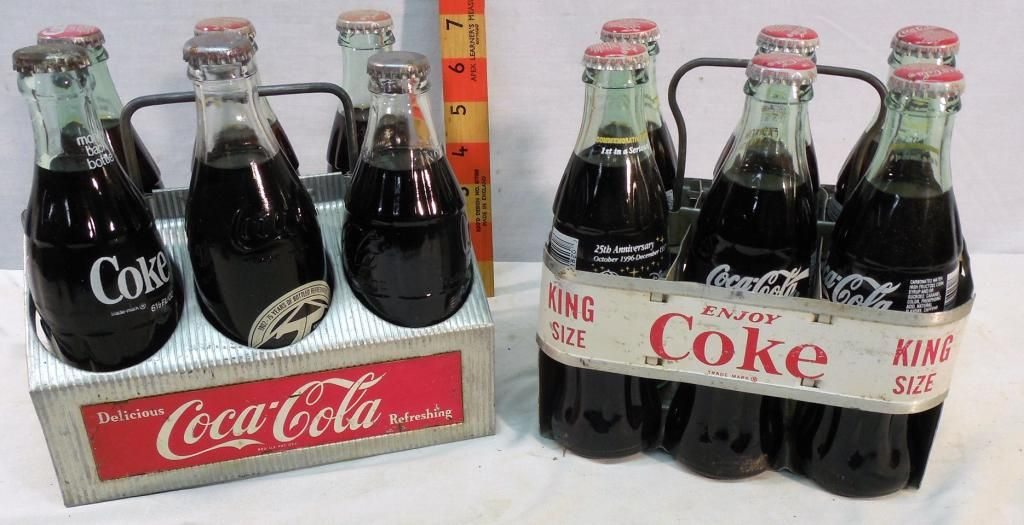 2 Coca-Cola Metal Carrying racks with bottles