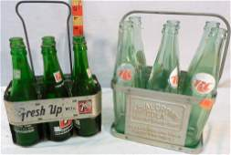 Royal Crown and 7-Up Metal carriers with bottles