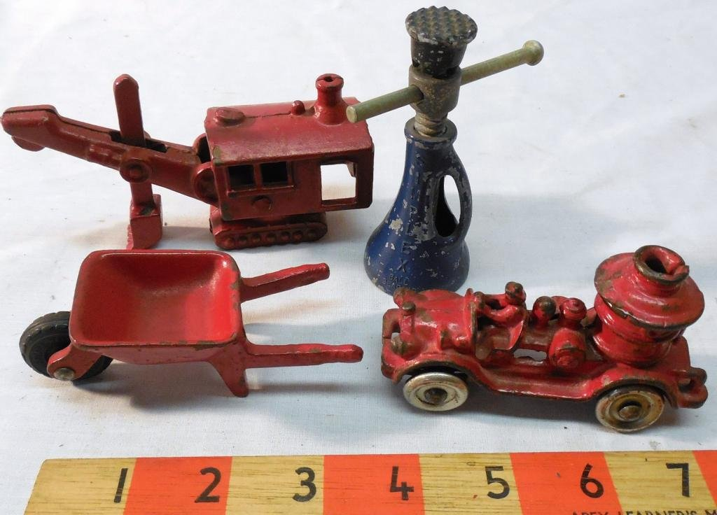 4 Cast Iron Toys Jack - Steam Shovel - Fire Truck