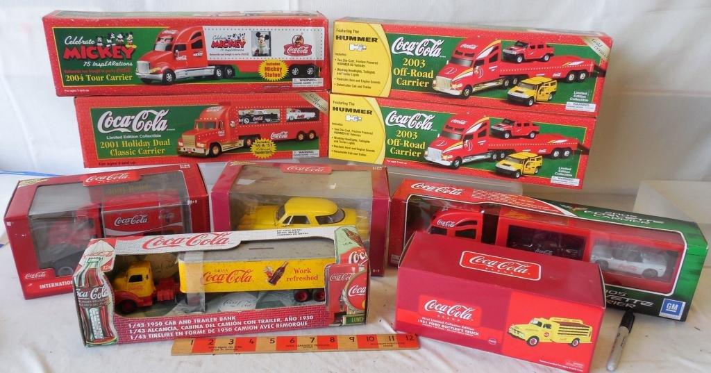 9 Mixed Coca-Cola Car's Trucks and Tractor Trailer