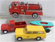 Tonka Fire Truck - Wagoneer - Pickup w Boat Traile
