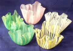 Lot of 5 Handkerchief Vases 3'' / 4'' Tall