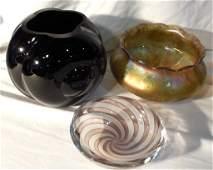 Lot of 3 Vase 2 Bowls Art Glass