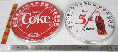 Pair of Coke Thermometers Round