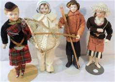 Lot of 4 Dolls-Restored ? - New Bisque Heads