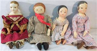 3 cloth with painted face Dolls1 Paper Mache Doll