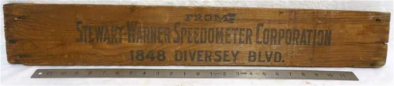 Stewart Warner Speedometer Corporation Sign