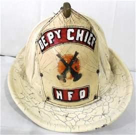 Fireman Helmet Deputy Chief leather, has been repainted