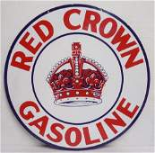 """Red Crown Gas Sign two sided, 42"""" round,"""