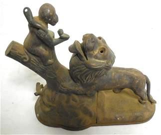 Cast Iron Mechanical Bank Monkey / Lion no paint left