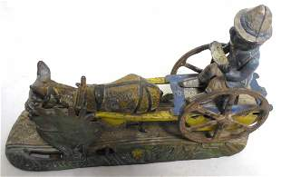 Cast Iron Mechanical Bank 'Bad Accident' mechanism