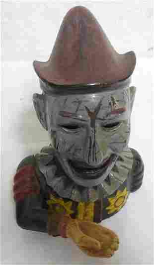Cast Iron Mechanical Bank Clown / Jester repainited