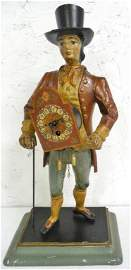 Cast Iron Man with Clock No key Untested 17'' Tall as