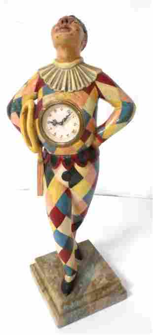 clown w/ clock in chest possibly wooden, Bajazzo