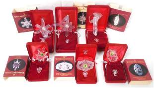 6 Waterford Crystal Christmas ornaments w/ cases &
