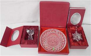 2 Waterford Christmas ornaments & 1 dish w/ boxes &