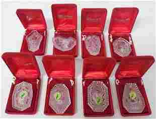 8 Waterford Christmas ornaments w/ boxes & pouches