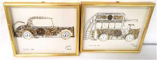 pair of watch parts framed drawings one picture has