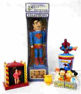 lot of 5 contemporary cartoon & super hero items clown