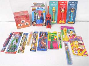lot of cartoon & super hero toothbrushes Toy Story,