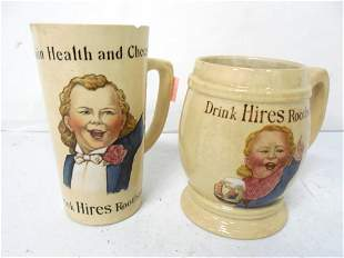 Pair of Vintage Hires Root Beer Mugs some chips some