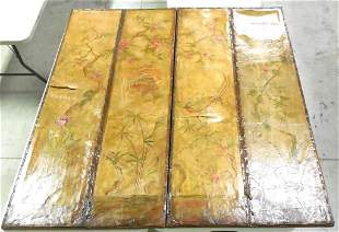 3 Fold Decorative Room Screen 4 Panels painted leather
