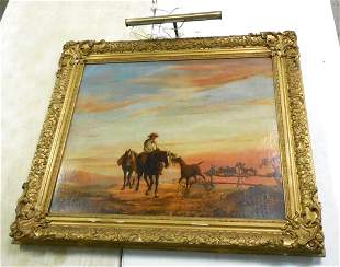 Oil Painting Horses Unsigned 32'' x 37'' some frame