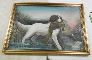 Oil Painting Dog w/ Pheasant Unsigned 29'' x 40''