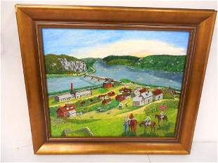 Oil on Canvas Village Scene Signed 26'' x 30'' see
