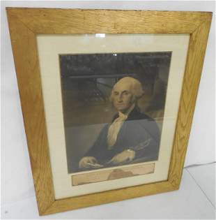 Framed Picture of George Washington as is some water