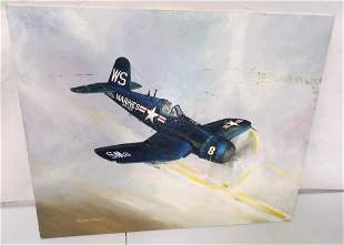 Oil Painting Bomber Plane 16 x 20 Pick up or 3rd party