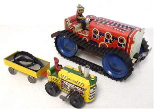 lot of 3 tin friction farm toys, one is Marx