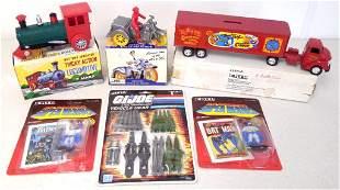 lot of 6 cycle, locomotive, Ertl truck & trailer o