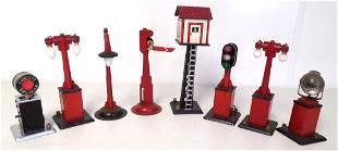 lot of 8 light towers, tin signals & switches othe