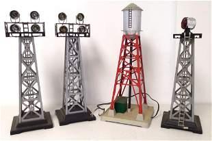 lot of 3 Marx lights & 1 Lionel silo