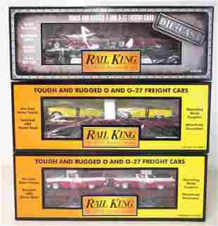 lot of 3 Rail King train cars in boxes