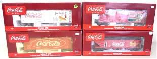 lot of 4 Coca Cola train cars w/ boxes