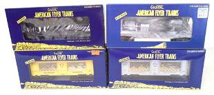 4 Gilbert American Flyer Lionel train cars & boxes
