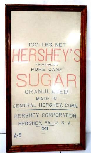 100 lb cloth Hershey's Sugar Cane bag,framed