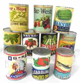 Lot of 10 Contemporary Tin Cans
