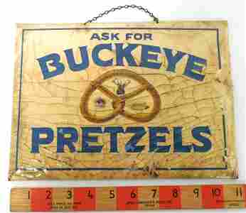 Buckeye Pretzels Tin Sign,Cardboard Backing