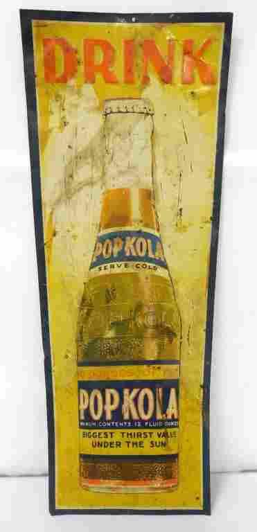 Pop Kola Drink Tin Sign 93/4x271/2