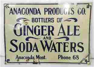 Anaconda Products Ginger Ale/Soda Tin Sign