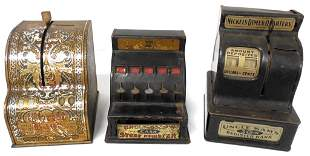 lot of 3 metal cash register banks